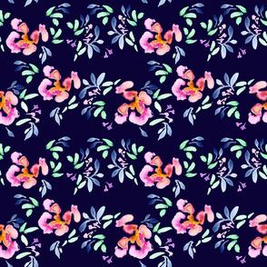 {Summer Garden Floral on Slate Blue}