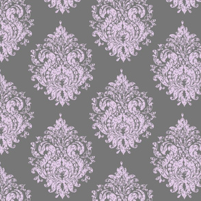 Gray & Purple Damask