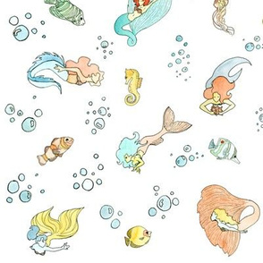 Mermaid Print large repeat white background