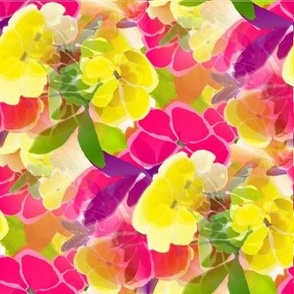 red yellow spring floral blossoms watercolor