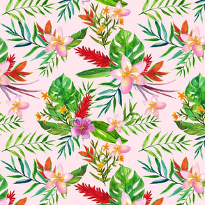Tropical flowers Pink