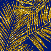 palm leaves - gold glitter on navy