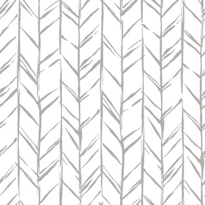 Hand-drawn Herringbone // Gray on White