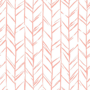 Hand-drawn Herringbone // Peach on White