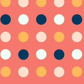 Big Multi Colored Dots on Coral Background