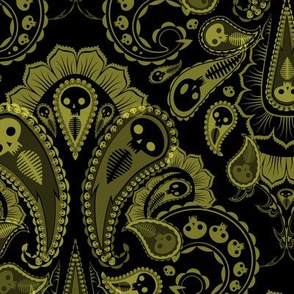 Ghost Paisley - green & black