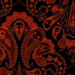 Ghost Paisley - red & black