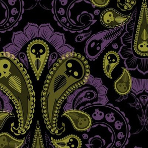 Ghost Paisley - green & purple