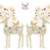 Floral Deer Plushie - Cut & Sew - Woodland Fairytales Collection