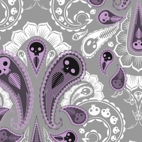Ghost Paisley - purple & white