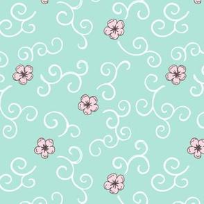 Cherry Blossom and Swirls - turquoise