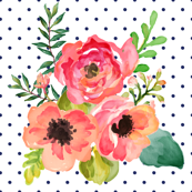 Polka Dots Navy Blue Floral Pastel Dreams