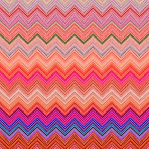 DREAM OF AN OCEAN TURQUOISE ORANGE SEA GARDEN CHEVRONS ZIG ZAG