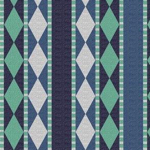 Diamonds and Stripes Dark Blue and Mint