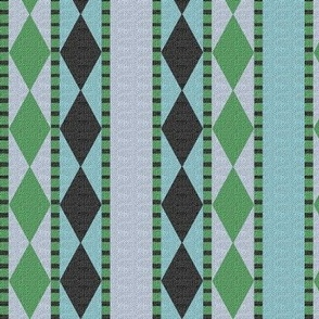 Diamonds and Stripes Aqua and Lime