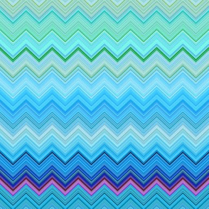 DREAM OF AN OCEAN BLUE SEA GARDEN CHEVRONS ZIG ZAG