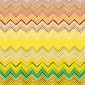 DREAM OF AN OCEAN YELLOW SUNNY AND GRASS  SEA GARDEN CHEVRONS ZIG ZAG