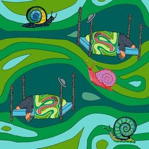 Groovy green tunnels w snails: dream mole