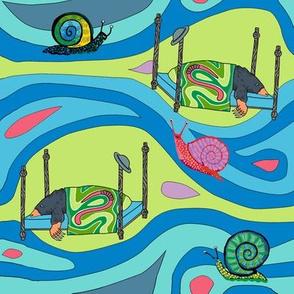 Groovy blue tunnels w snails: dream mole