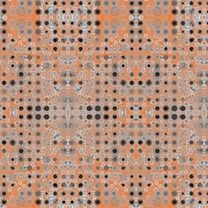 Dancing Dots and Spots of Grey on Tangy Orange