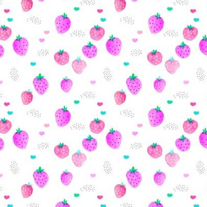 Strawberry pink watercolors colorful summer fruit