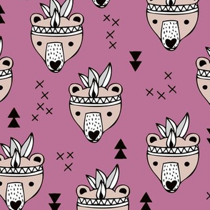 Cool geometric Scandinavian winter style indian summer animals little baby grizzly bear lilac purple