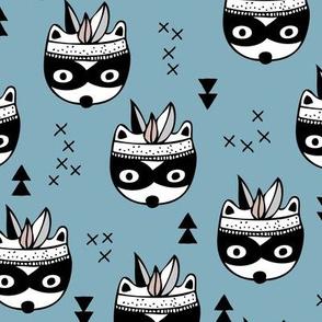 Cool geometric Scandinavian winter style indian summer animals little baby panda raccoon skunk blue