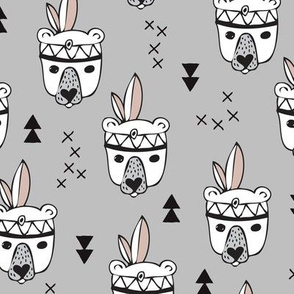 Cool geometric Scandinavian winter style indian summer animals little baby grizzly bear gray white