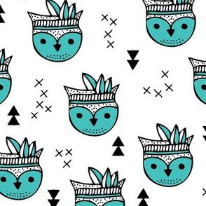 Cool geometric Scandinavian summer style indian winter animals little baby owl blue