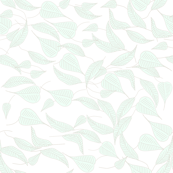 Parisian Green Foliage, Soft Mint Green Leaves on Crisp White Background