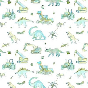 Boys Pattern Small Repeat White Background