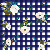 Blue & White Gingham Floral
