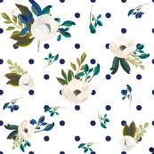 Blue Polka Dots Floral