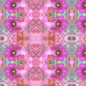 Pink Pastel Art Nouveau Daisies