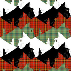Tessellating Christmas Plaid Scottish Terriers 2