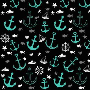 Black and Aqua Multi Anchors