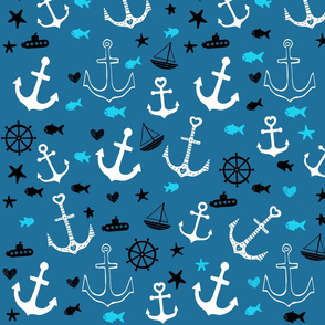 Blue and White Multi Anchors
