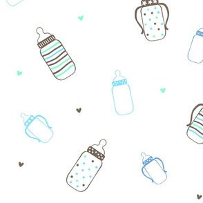 Aqua and Brown Polka Dot Bottles