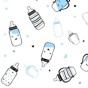 Baby Blue Smiley Bottles