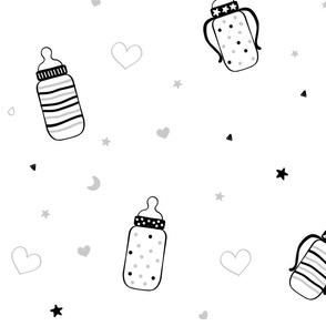 Black Polka Dot and Heart Bottles