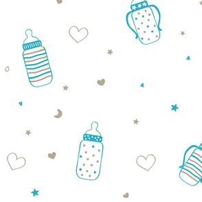 Blue Polka Dot and Heart Bottles