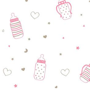 Pink Polka Dot and Heart Bottles