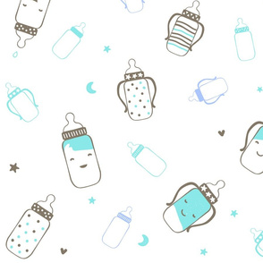 Aqua and Brown Smiley Bottles