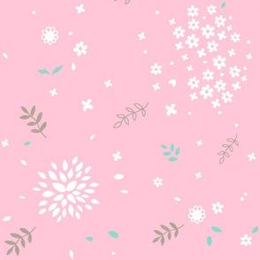 White Flower Bursts on Pink