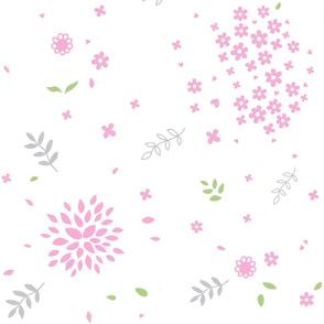 Pink Flower Bursts on White