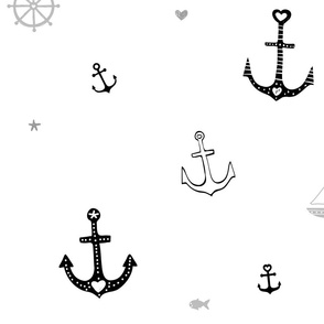 Anchors and Fish on White