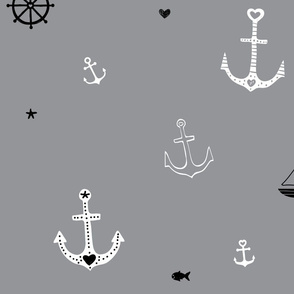 Anchors and Fish on Grey