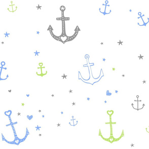 Green and Blue Anchors and Hearts