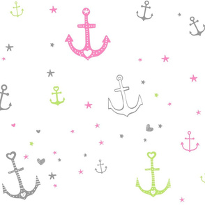 Pink and Green Anchors and Hearts