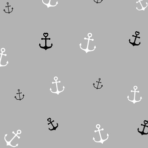 White and Black Anchors on Grey